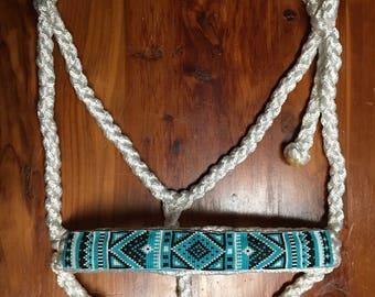 Beaded Mule Tape Halter - Turquoise/Black