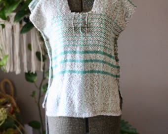 Vintage SM/MED Woven Short Sleeve Blouse with Fringe, Mexican Peasant Top, Green, Ivory