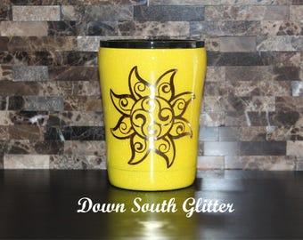 "10oz. Ozark Tumbler Sunshine Yellow Glitter Dipped Coffee Cup ""You are my Sunshine"""