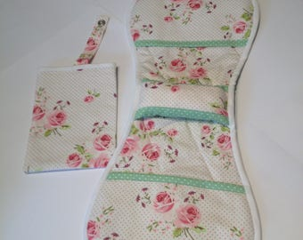 Pink Rose patterned Armchair Sewing Caddy/handmade/sewing organiser/women's gift ideas/sewing and needle crafts/needle point caddy