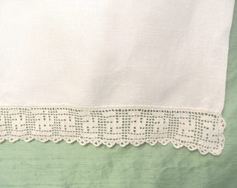 """Crocheted cotton huck hand towel / 15.5"""" x 30.5"""" vintage waffle weave washstand guest towel"""