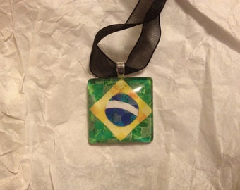 Brazil Flag Mosaic - Glass Tile Necklace