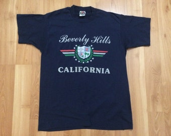 Large 90's Beverly Hills California T shirt men's vintage 1990's blue silver Los Angeles Hollywood tourist