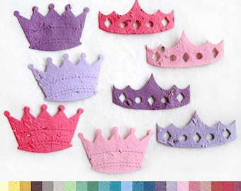 10 Seed Paper Crowns - Princess Party Favors - Seed Paper Tiaras and Crowns - Little Prince Baby Shower Favors - Plantable Pots Option