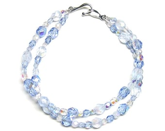 Light sapphire two strand bracelet, sapphire bracelet, blue bracelet, glass bracelet, czech glass, fire polished glass, silver plated clasp