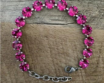 Swarovski Hot Pink Crystal 8mm Bracelet // Fuchsia // Bridesmaids Gifts // Customize // Gifts for Her