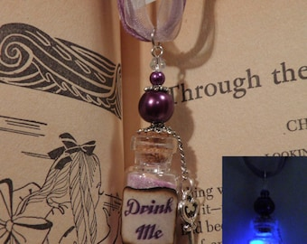 Drink Me Necklace, GLOW in the Dark, Alice in Wonderland Necklace with Key Charm, Through the Looking Glass
