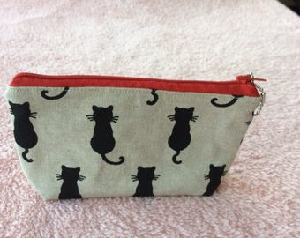 Black cat silhouette fabric cosmetic pouch