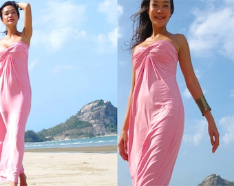 Light Pink  Strapless  Beach evening long maxi Sun dress S M L XL 2XL 3XL 4XL