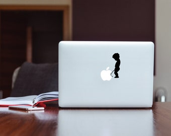 Little Boy Peeing on Apple  High Quality Matted Vinyl Decal