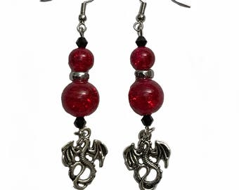 Dragon earrings with red Crystal Balls