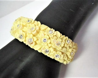 Yellow Celluloid Bracelet, Wide Floral Pastel, Vintage Rhinestone Enhanced Clamper