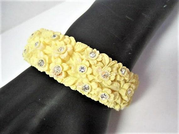 Yellow Celluloid Bracelet, Hinged Bangle, Wide Floral Pastel, Vintage Rhinestone Enhanced Clamper