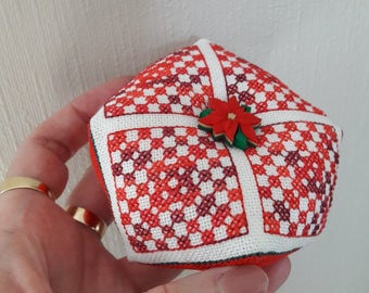 Christmas Biscornu Pincushion designed by Cherry Parker