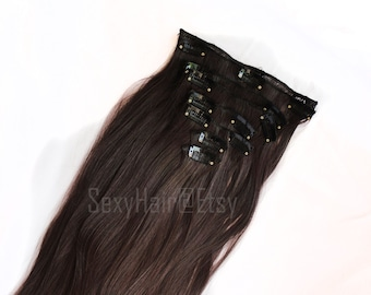 "24"" Medium Brown Hair Extension, Clip on Extension, Full Head, Clip in Extensions, Extensions, Chocolate Brown Hair, 8 Piece Set, Volume"