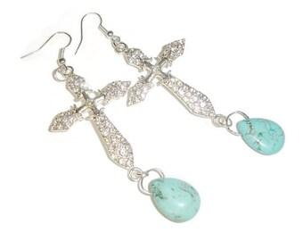 Rhinestone Curved Cross Turquoise Drop Earrings