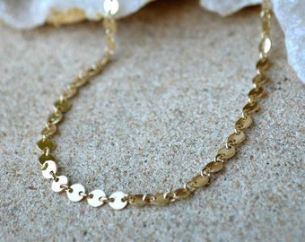 gold disc choker /disc necklace/ coin necklace/ gold filled choker necklace/gold circle choker