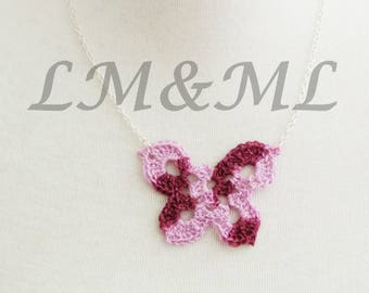 Crocheted purple shades Butterfly Necklace