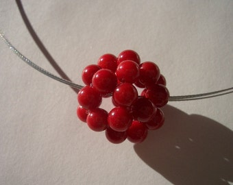 Red Coral pendant, wire necklace, coral sphere, coral cluster, natural coral, coral beads, wire, silver wire, gemstone beads, steel clasp