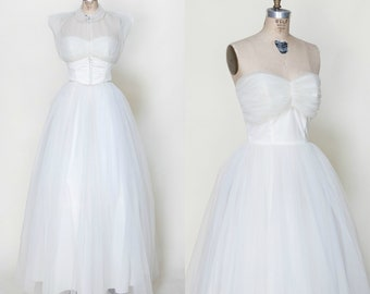 1950s Strapless Wedding Dress /// Vintage Princess Wedding Gown Small