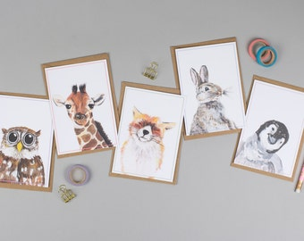 Animal Friends Notecard set - pack of 5, Notecard Set, Gifts for Her, Animal Cards