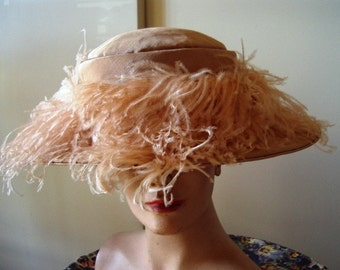 Rare Edwardian Era Peach Faille Restored Hat Original Feather Trim /Label Item #700  Hats