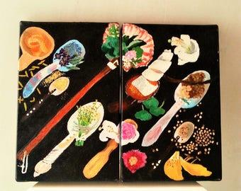 Especias y cucharas, oleo imagen de objetos y especias costumbrista de las cocinas antiguas