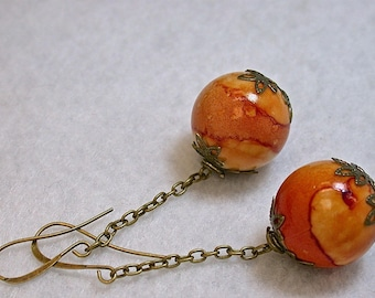 Vintage Japanese Lucite Orange Swirl Dangle Drop Large Bead Earrings, Brass chain, Handmade brass ear wires - GIFT WRAPPED