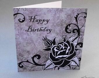 Gothic birthday card etsy black rose birthday card gothic tattoo rockabilly psychobilly punk rock grunge bookmarktalkfo Gallery