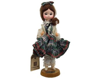 Vintage Bradley Doll With Original Tag Scottish Girl on Stand Plaid Dress Bradlee Like New with Tags