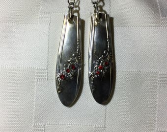 Old antique silverware earrings made one of a kind.