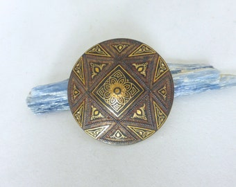 1960's Vintage Spanish Damascene Geometric Concave Round Pin