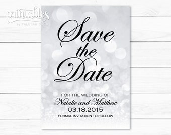 Save the Date Card, Silver Save the Dates Bokeh, Formal Save the Date Cards Template, Sparkly Save the Dates Digital Card, DIY Save-the-Date