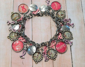 Breast Cancer Strength & Courage Charm Bracelet