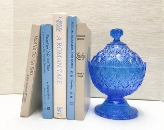 Blue and Cream Vintage Books for Shelf Decor, Modern Farmhouse Decor