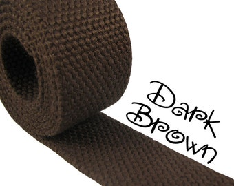 """Cotton Webbing - Dark Brown - 1.25"""" Medium Heavy Weight for Key Fobs, Purse Straps, Belting - SEE COUPON"""