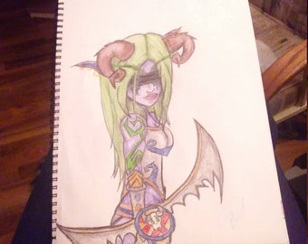 Demon Hunter Colored Pencil Drawing of Night Elf Glochonia from World of Warcraft