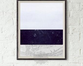 Geometric art print - Abstract Art, Modern Art, Geometric Decor, White Art, Blue Art, Stripe Art, Abstract Poster, Marble Art, Marble Print