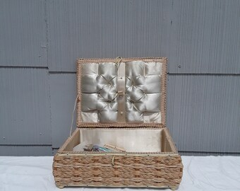 Vintage Rattan Sewing Basket