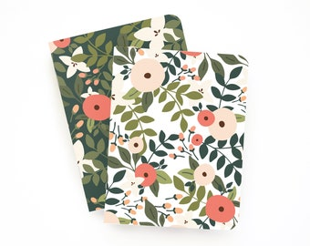 Pocket Journal Set of 2 | Illustrated Small Notebooks with Lined Pages: Rosy Grove Pocket Journal Set