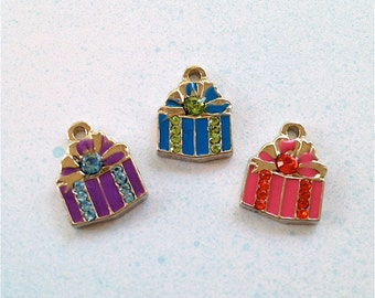 Enameled/Painted/Colored Present / Gift Charms --2 pieces-(Nickel Plated)--style 973-Free combined shipping