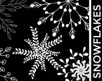 Snowflake Clipart - Christmas Clipart, Winter graphics - Instant Download White Snowflake Photo Overlays - Hand Drawn Snowflakes - Clip Art
