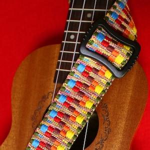 Hawaii  Woven Ukulele Strap Adjustable Cotton Ukulele Shoulder Strap Colorful Ukulele Accessories fits for all Size Ukulele