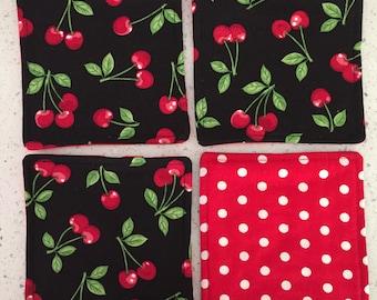Drink Coasters - Set of 4 - Cherries on Black
