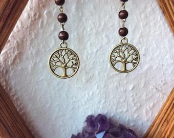 Earrings, hippie, Boho, Tree of Life, handmade
