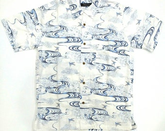 Gilevans Japanese Motif flying swallows Hawaii shirt