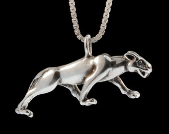 Panther Necklace Silver Panther Jewelry Panther Charm Cougar Charm Cougar Pendant Big Cat Jewelry Wild Cat Jewelry Mountain Lion Charm