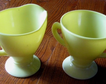 Vintage Yellow Sugar and Creamer Set, Hazel Atlas Ovide Sierra, Lemon Yellow, Pale Yellow, Milk Glass,  Sugar Creamer, Set