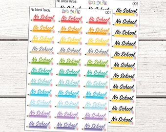 No School Stickers, Pencil Stickers, Back to School Planner Stickers, School Planner stickers