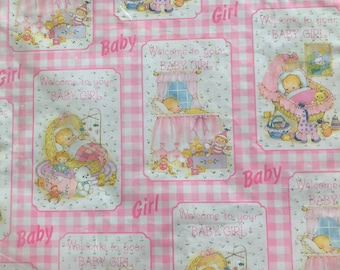 Vintage Baby Shower Wrapping Paper Sleeping Pink Gingham Blankie Teddy Bear Bunny New Baby Birthday Thank You New 2 Sheets Per Package